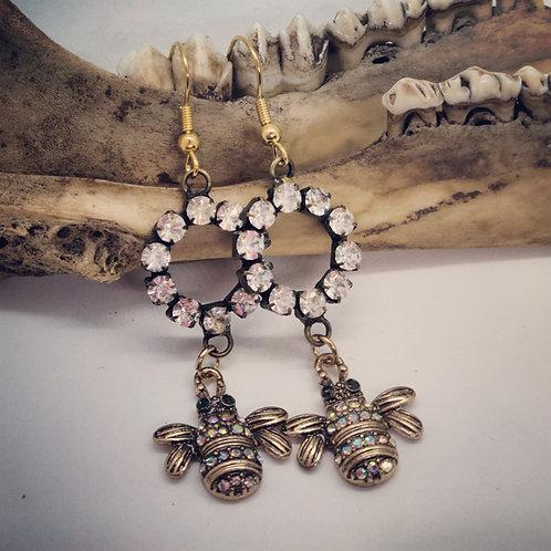 Goldtone Bumblebee & Rhinestone Earrings