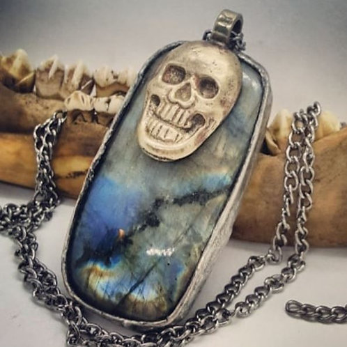 "Soldered Labradorite with Brass Skull on 20"" Chain"