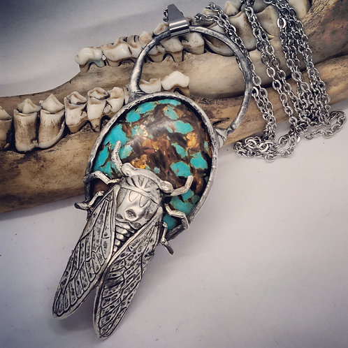"""Soldered Lab Created Turquoise with Cicada on 22"""" Chain"""