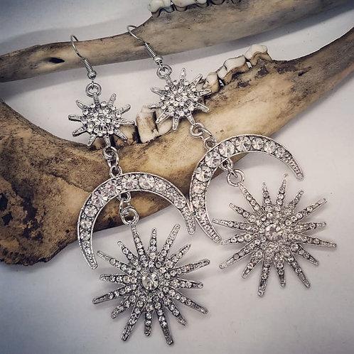 Blingy Moon & Stars Earrings
