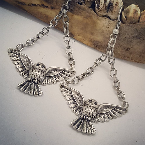 Silver Plated Owls on Chains Earrings