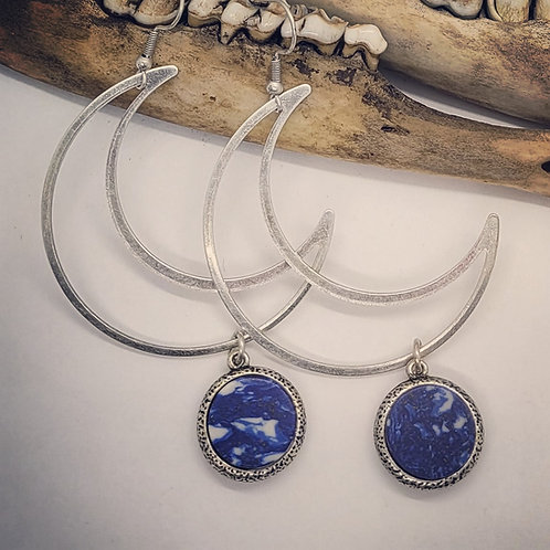 Huge Silver Plated Crescent Moons with Lapis Earrings