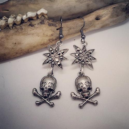Skull & Crossbones with Rhinestones Earrings