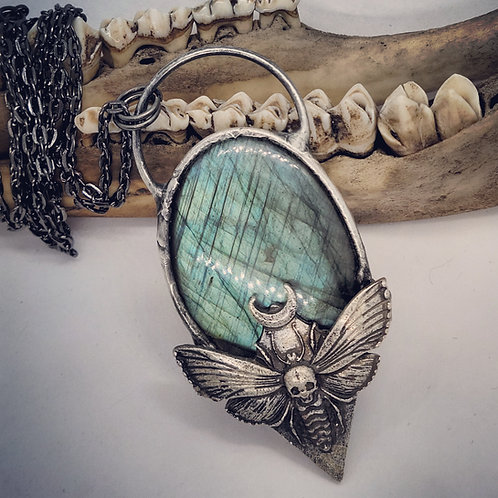 "Soldered Labradorite with Moth on 24"" Chain"