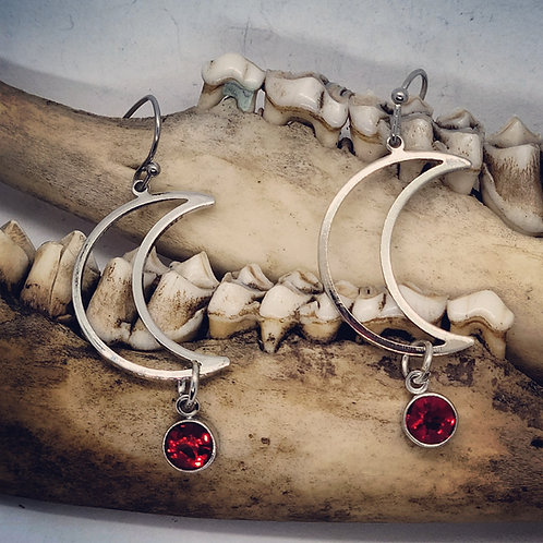 Stainless Crescent Moons with Red Rhinestone Drop
