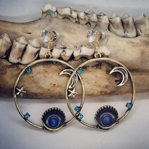 Goldtone Shells with Moon & Stars & Rhinestones on CZ Posts