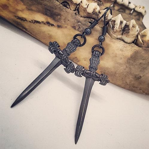 Black Dagger Earrings