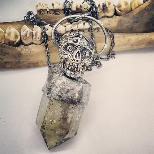 "Soldered Citrine Point with Sugar Skull on 20"" Chain"