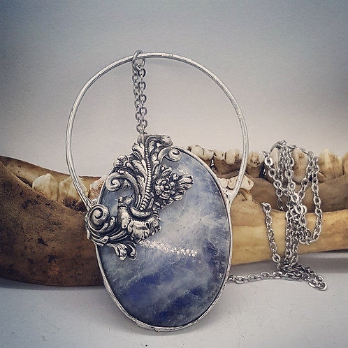 Huge Soldered Moonstone with Flourish on Long Chain