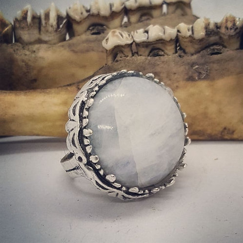 Large Silver Plated Moonstone Statement Ring