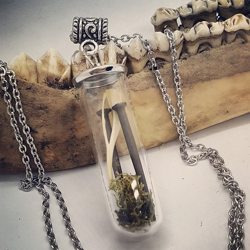 "Tiny Vial with Moss, Tiny Coffin Nails & Mouse Leg Bone on 20"" Chain"