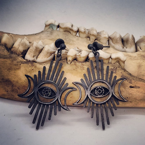 Triple Moon and Evil Eye Earrings in Black