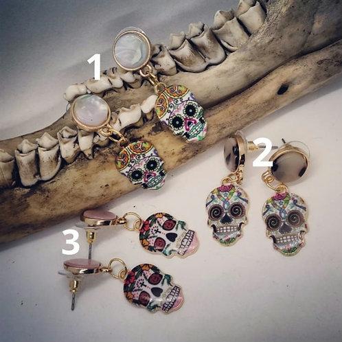Goldtone Sugar Skull Earrings