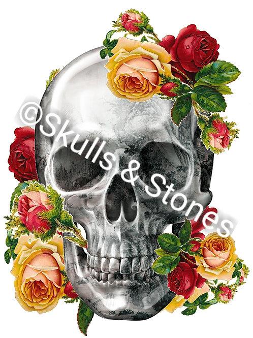 Skull & Roses Print - Matted