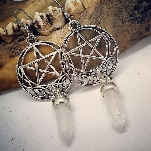 Pentacles with Quartz Points Earrings