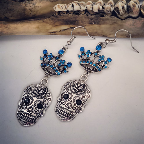 Sugar Skull with Rhinestone Crown Earrings