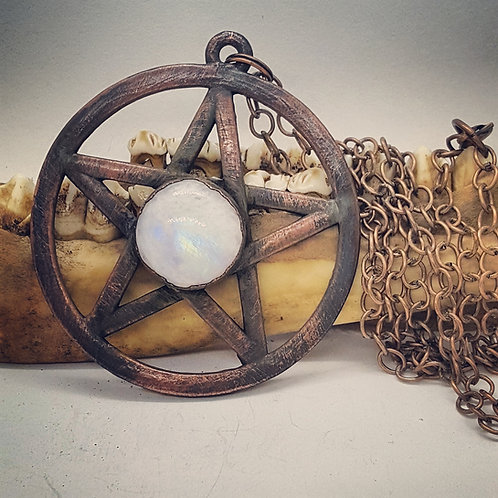 Large Electroformed Pentacle with Moonstone on Long Chain