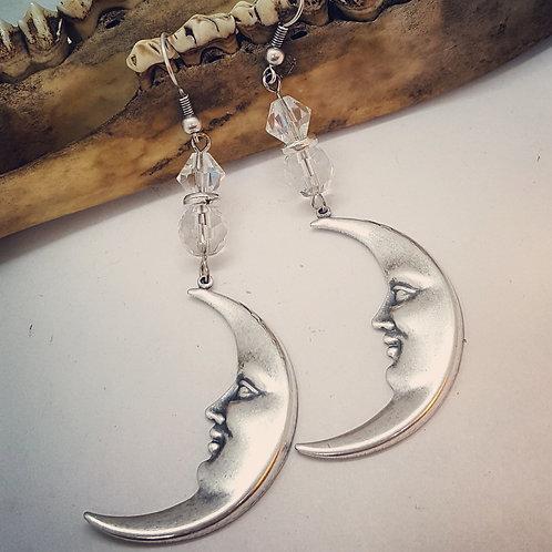 Crescent Moon with Rhinestone Earrings