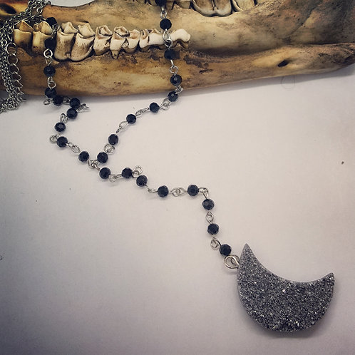 Rosary Style Necklace with Druzy Moon