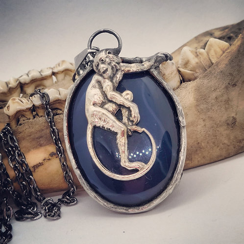 Soldered Vintage Style Circus Monkey on Agate