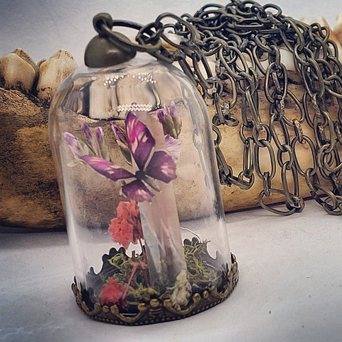 Glass Dome with Tiny Butterfly on Quartz Point & Long Chain