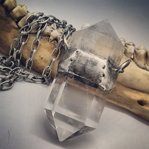 """Large Soldered Double Terminated Quartz On 20"""" Chain"""
