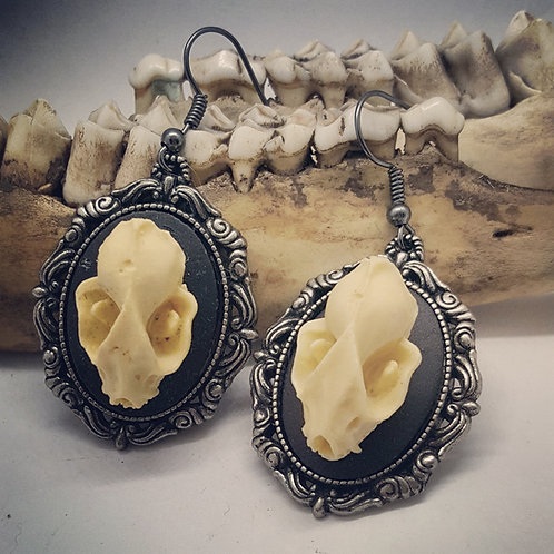 Bat Skull Replica Cameo Earrings