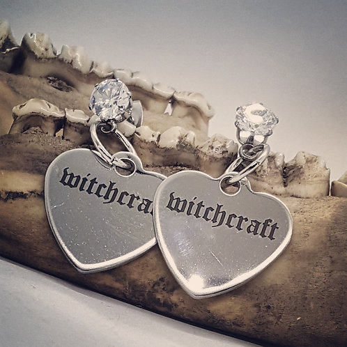 Stainless Steel Witchcraft Hearts on Stainless CZ Posts