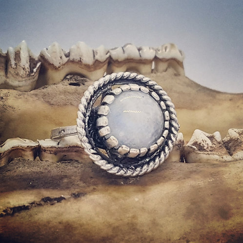 Adjustable Silver Plated Moonstone Ring