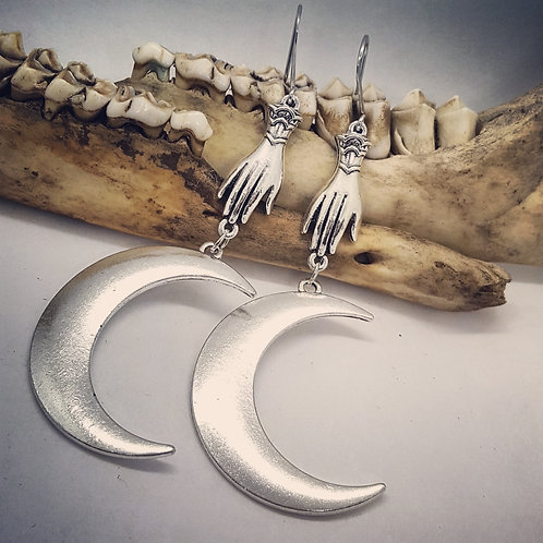 Crescent Moon with Hand Earrings