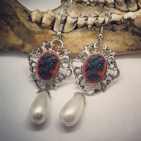 Skeleton Lady Cameo Earrings with Drops
