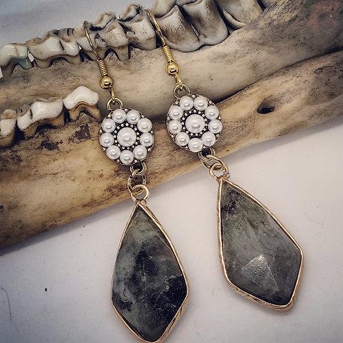 Goldtone Labradorite with Pearls Earrings