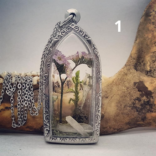 Small Terrarium Pendants with Real Mushroom, Lichen, Flowers & Crystals