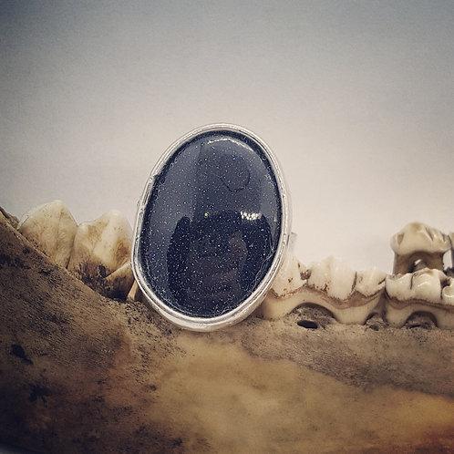 Adjustable Soldered Blue Sunstone Ring