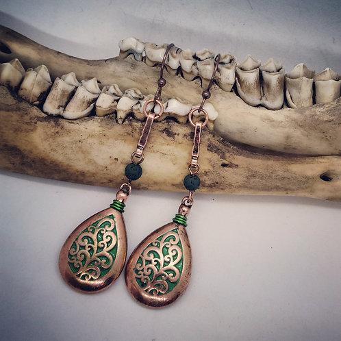 Coppertone with Green Earrings