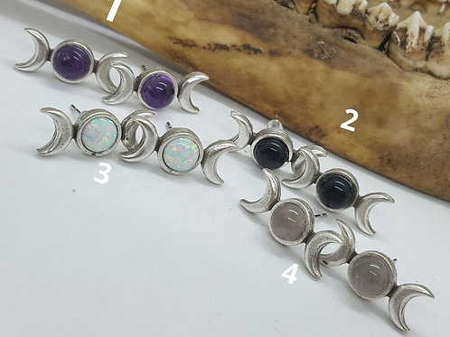 Triple Moon Phase Earrings