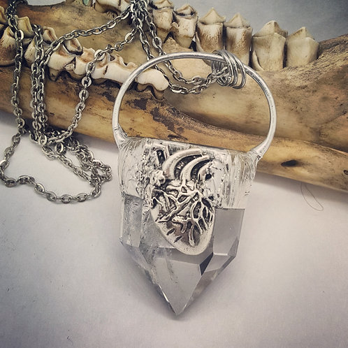 "Soldered Quartz Point with Anatomical Heart on 20"" Chain"