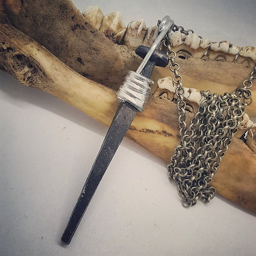 "Large Soldered Coffin Nail on 22"" Chain"