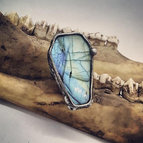 Adjustable Soldered Wide Band Labradorite Coffin Ring