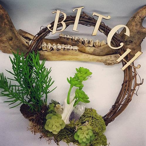 "6"" Bitch Grapevine Wreath with Bone, Amethyst & No Kill Succulents"