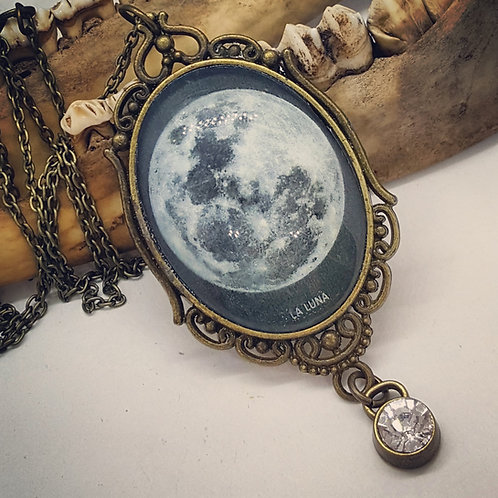 La Luna Pendant on Long Chain