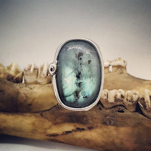 Soldered Adjustable Wide Band Labradorite Statement Ring
