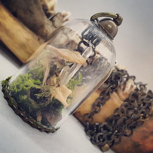 "Miniature Bell Jar with Real Tiny Mushrooms, Lichen & Quartz on 20"" Chain"