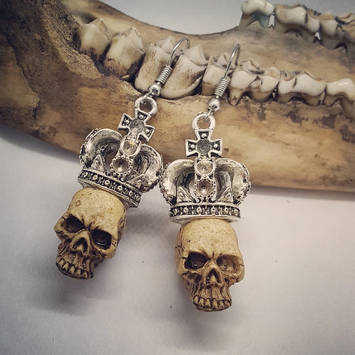 Skull with Crowns Earrings