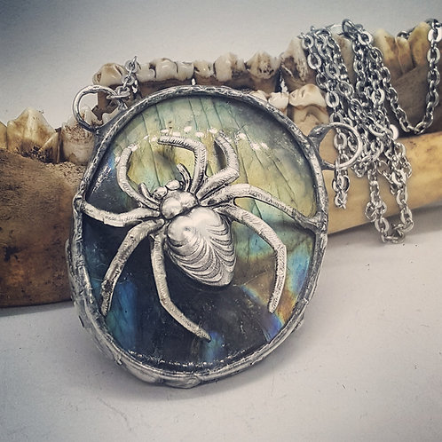 "Large Soldered Labradorite with Spider on 24"" Chain"