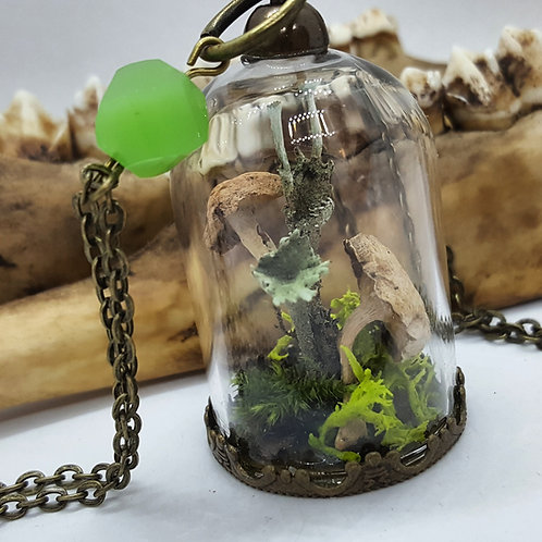 "Tiny Bell Jar with Tiny Mushrooms and Lichen on 20"" Chain"