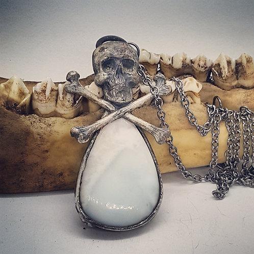 "Soldered Larimar with Skull & Crossbones on 20"" Chain"