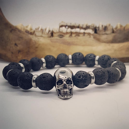 Stainless Skull Stretch Bracelet with Lava Rock