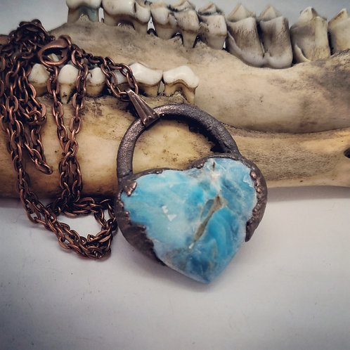 "Electroformed Blue Apatite Heart on 22"" Chain"