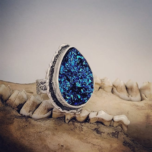 Silver Plated Adjustable Druzy Ring